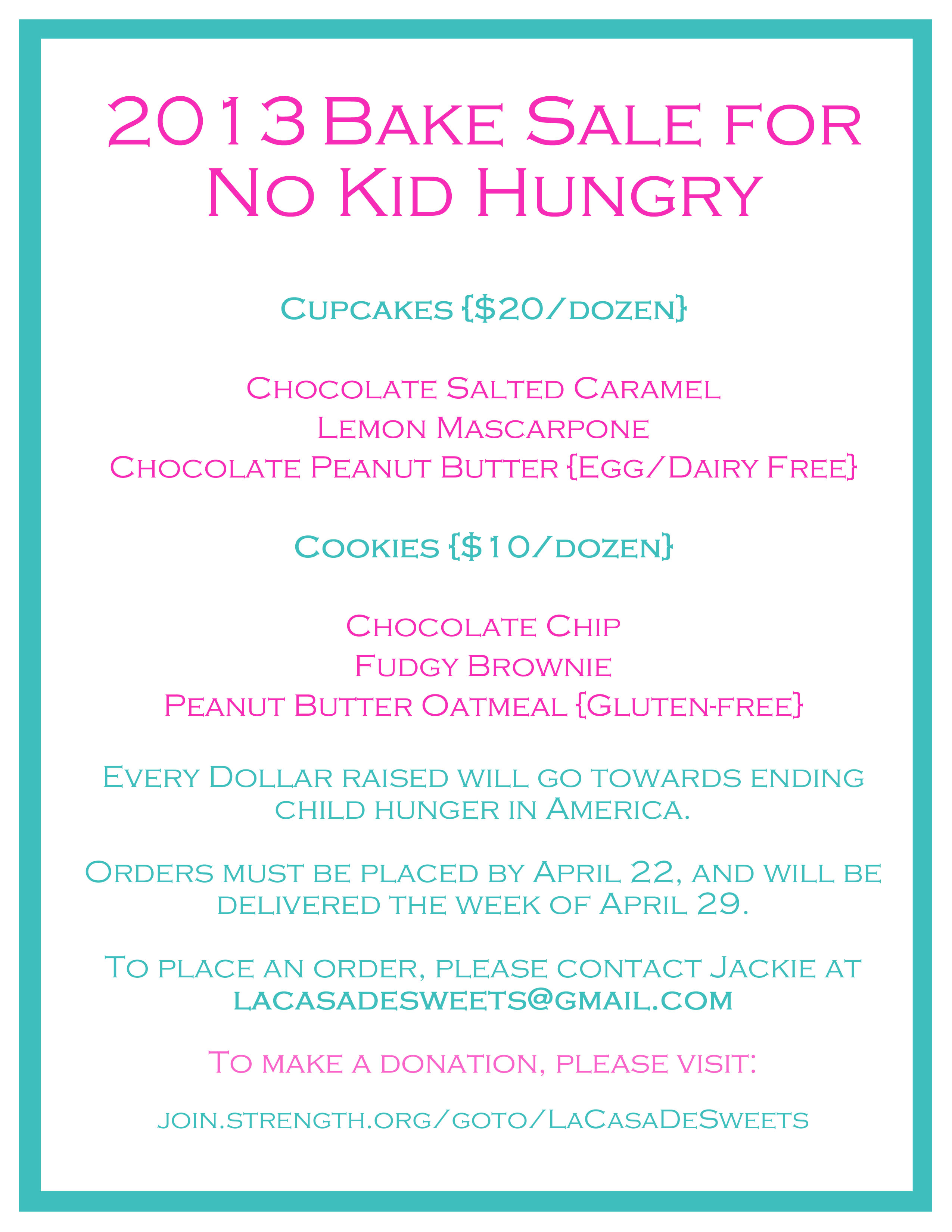 2013 No Kid Hungry Bake Sale Flyer