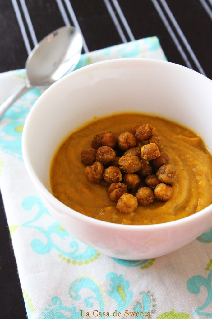 Roasted Sweet Potato Bisque with Curry Roasted Chickpeas {gluten free ...